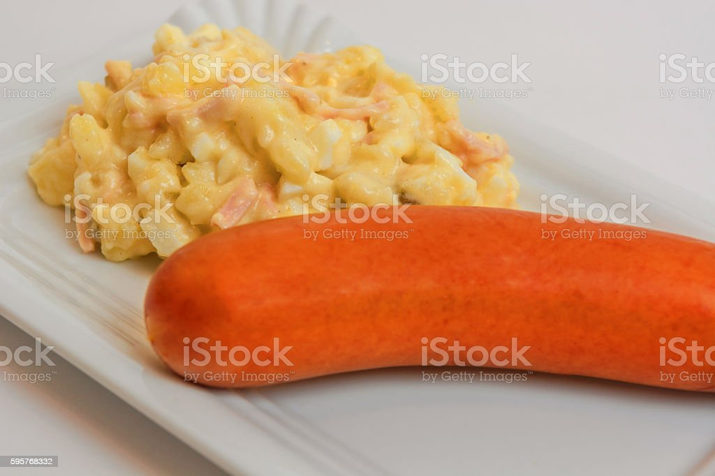 Potato salad with sausage stock photo
