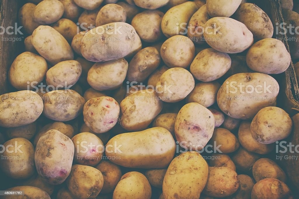 Potatoes at the market. stock photo