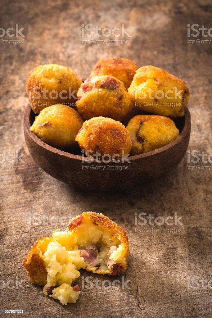 Potatoes balls stock photo