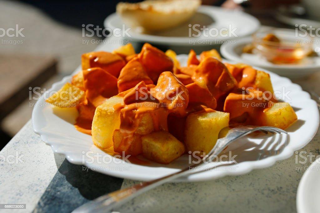 patatas bravas- traditional spanish tapa stock photo