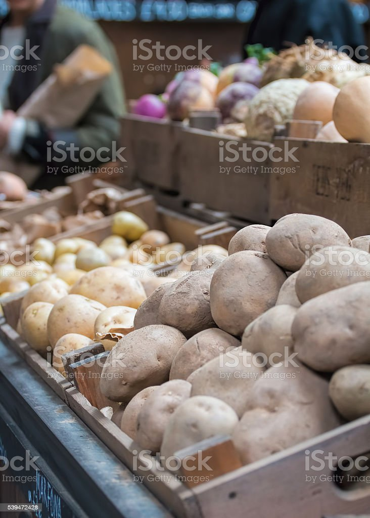 Potatoes For Sale At Market Stall stock photo