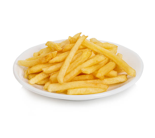 Potatoes fries in the plate isolated on white stock photo