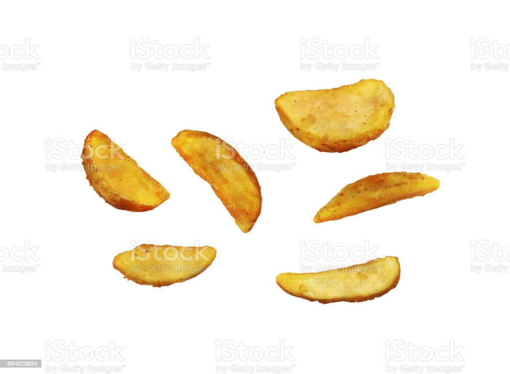 Kartoffeln Pommes Frites auf weißem Hintergrund – Foto