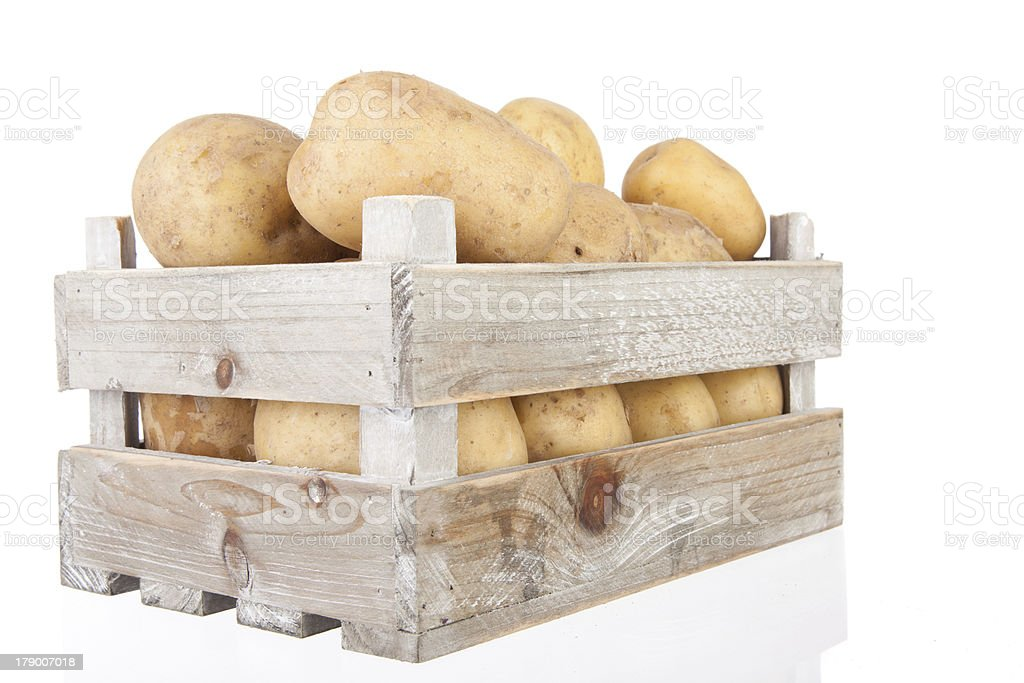 potatoes in a wooden crate stock photo