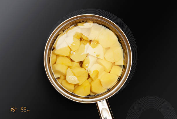 potatoes is cooked in pan