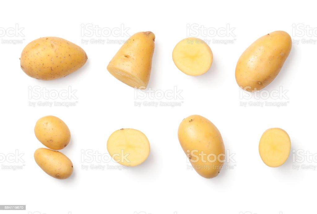 Batatas, isoladas no fundo branco - foto de acervo