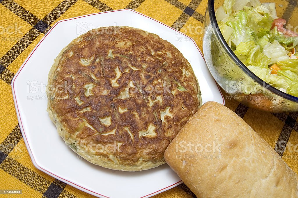 potatoes  omelette, bread and salad royalty-free stock photo