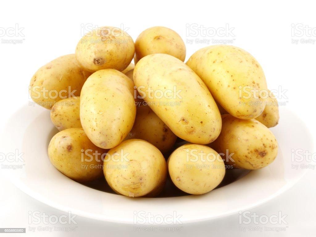 Potatoes on plate stock photo