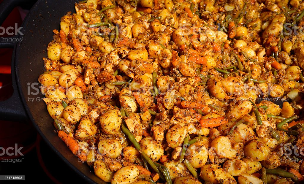 Potatoes provencal with chicken and vegetables royalty-free stock photo