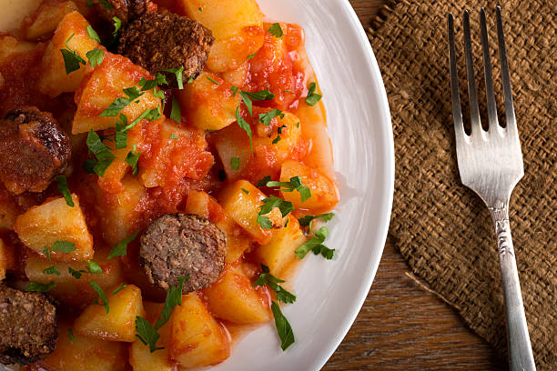 Potatoes with chorizo cooked Rioja style stock photo