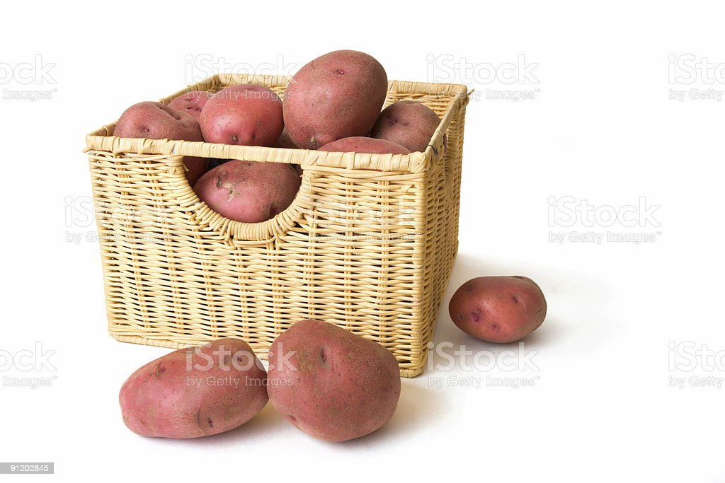 Potatos in Wicker Basket royalty-free stock photo