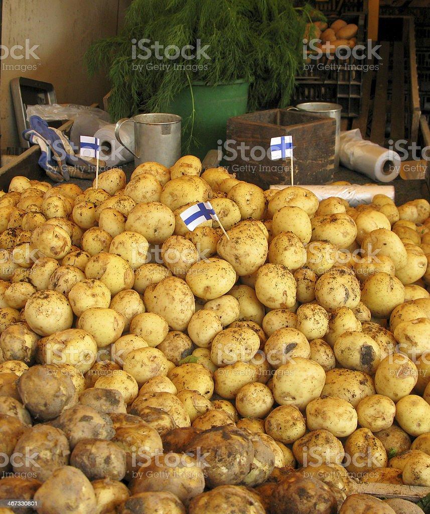 Potatos on market stock photo