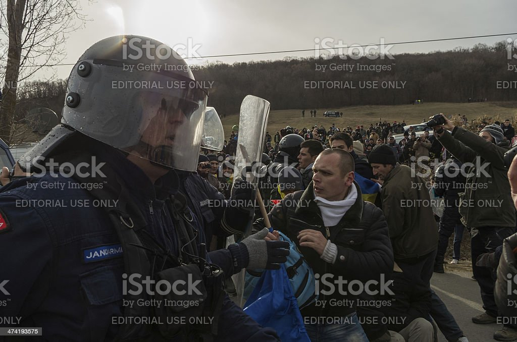 Potestor and Riot Police stock photo