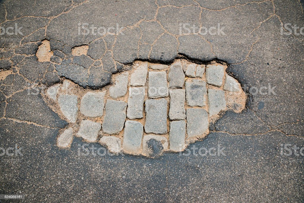 Pothole 02 stock photo