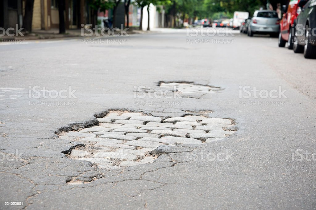 Pothole 06 stock photo