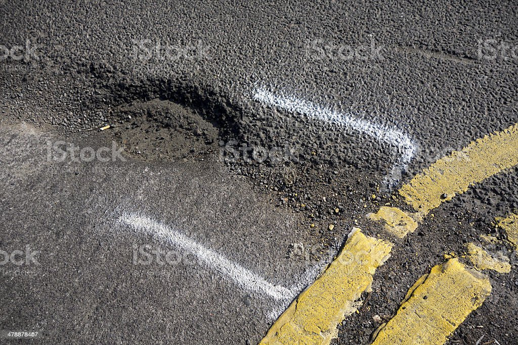 Pothole at the corner of a road royalty-free stock photo