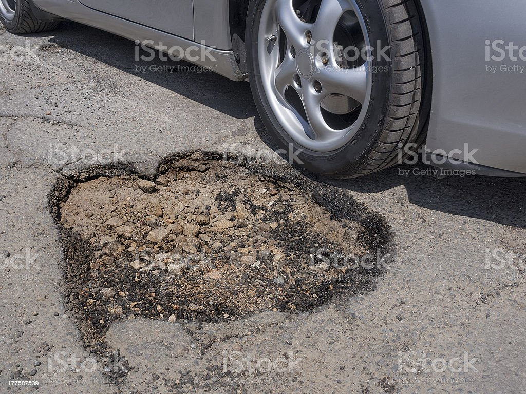 Pothole avoidance stock photo