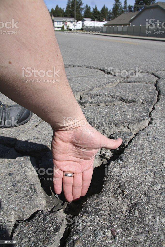 Pothole depth royalty-free stock photo