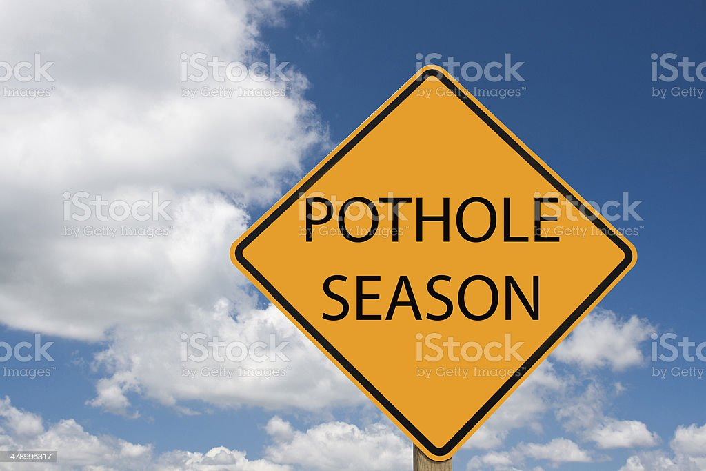 pothole sign stock photo