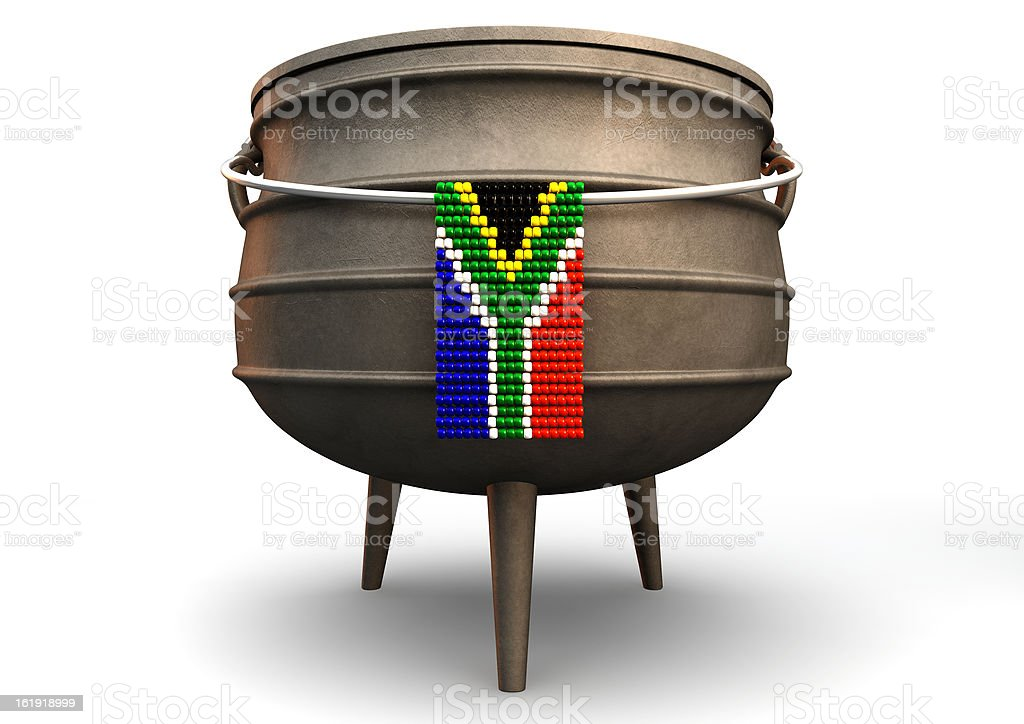 Potjie Pot With Zulu Bead South African Flag royalty-free stock photo