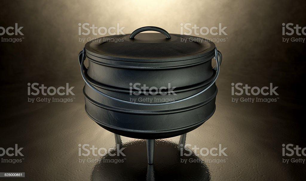 Potjiekos Pot Black stock photo