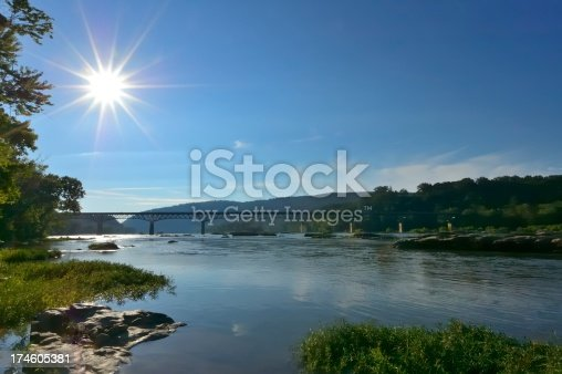 Morning sun gives a starburst over the US340 bridge across the Potomac river near Harpers Ferry National Park.