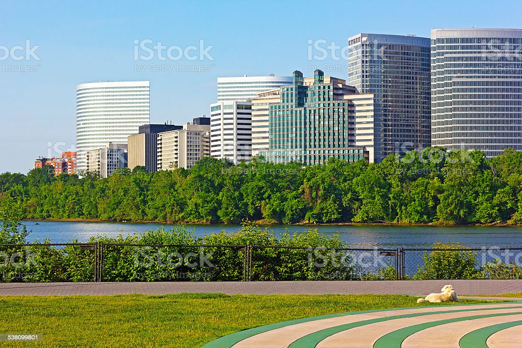 Potomac River waterfront office buildings. stock photo