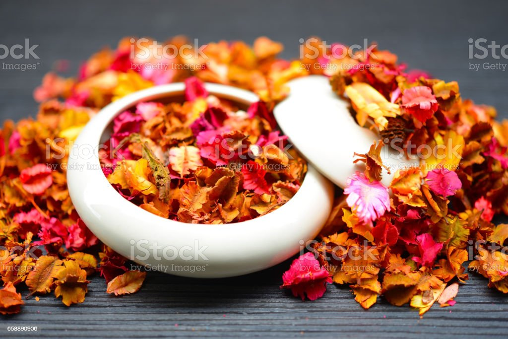 Potpourri dried plants and flowers for aromatherapy stock photo