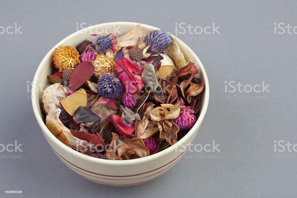 Potpourri in a Ceramic Bowl stock photo