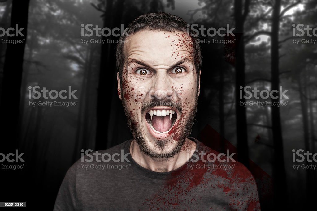 potrait of a beautiful angry male vampire potrait of a beautiful angry male vampire on a dark forest background Anger Stock Photo