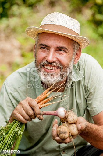 Potrait Of Farmer Holding Vegetable Stock Photo & More Pictures of Adult