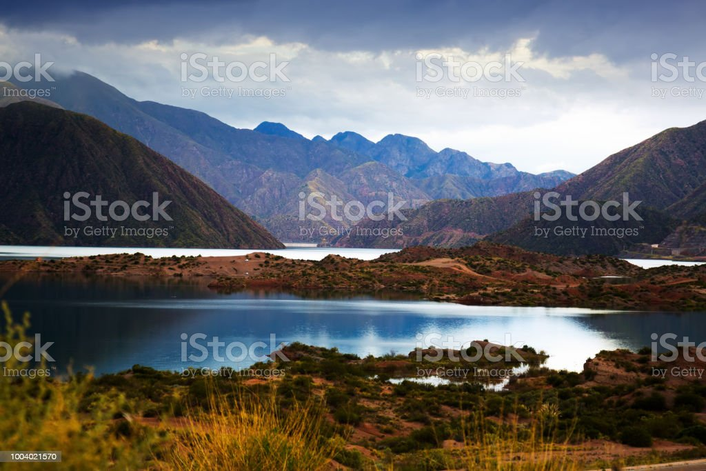 Potrerillos reservoir view stock photo