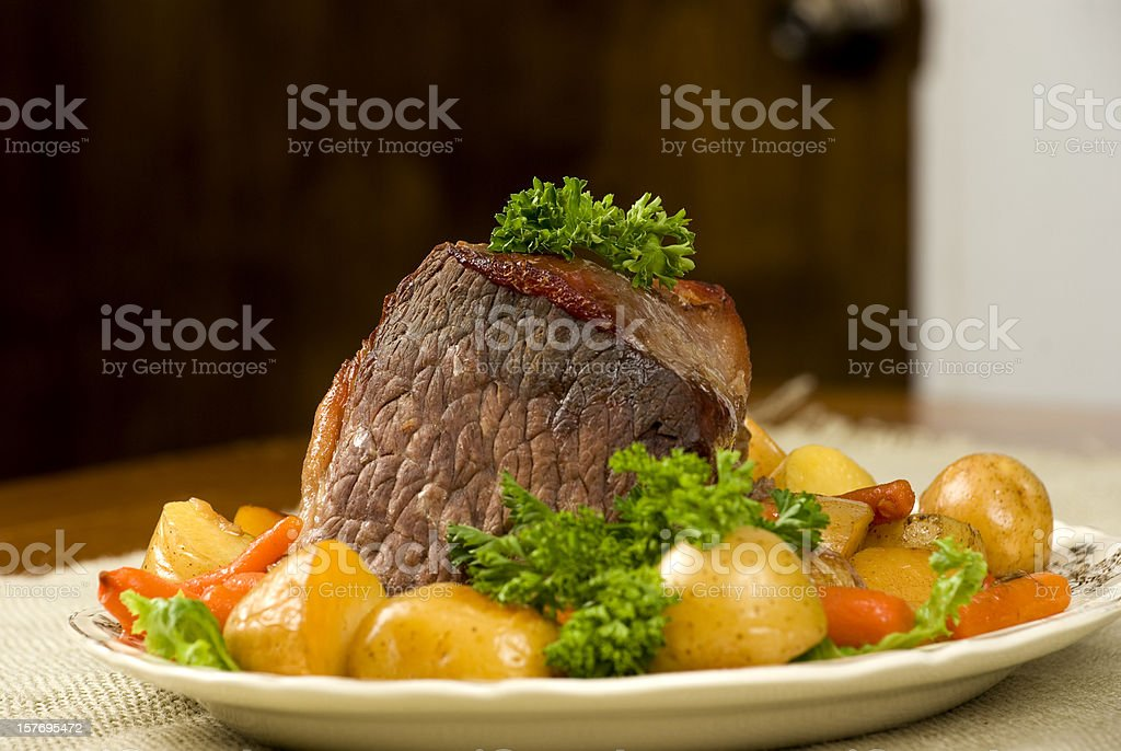 Potroast dinner with potoatoes and carrots. stock photo