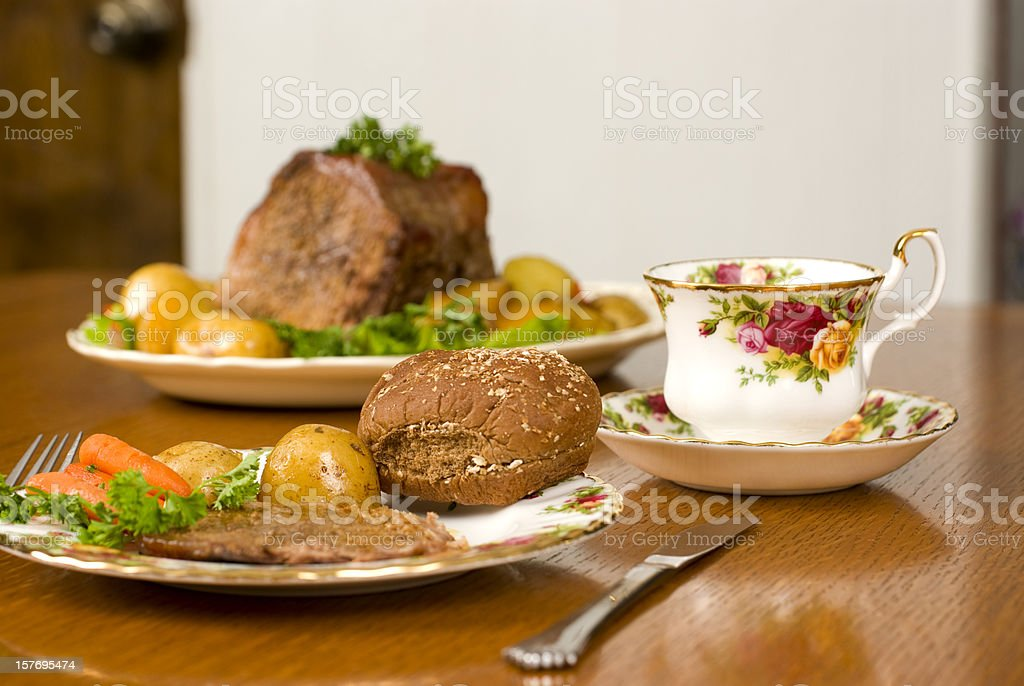 Potroast dinner with potoatoes and carrots. royalty-free stock photo