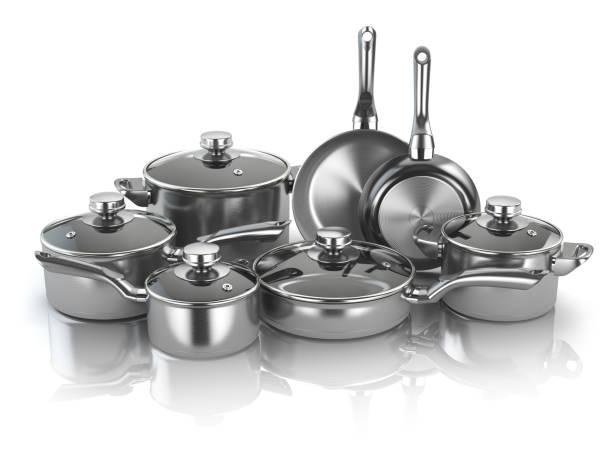 pots and pans. set of cooking stainless steel kitchen utensils and cookware - panela utensílio imagens e fotografias de stock