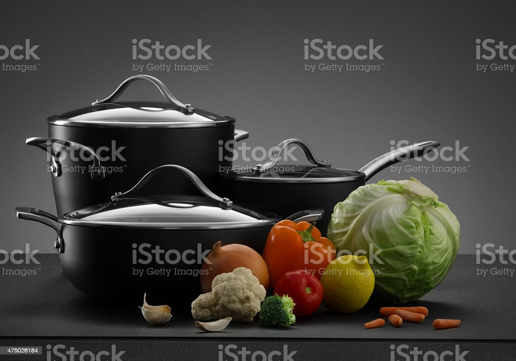 pots and vegetables stock photo