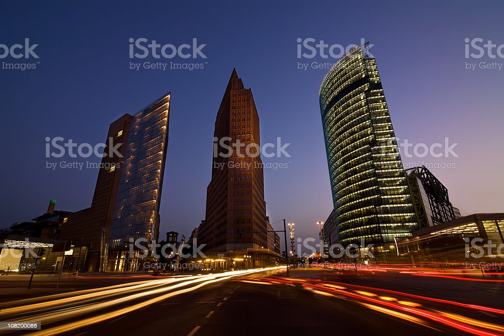 potsdamer place Berlin in the evening stock photo