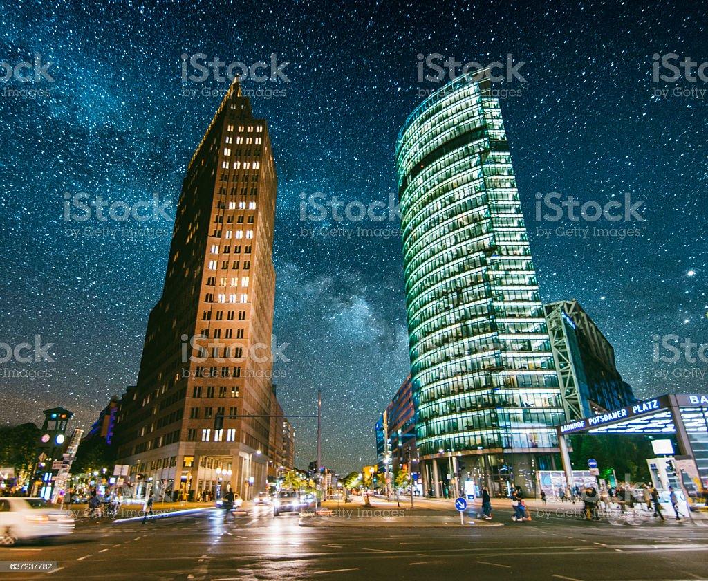 Potsdamer Platz at night stock photo