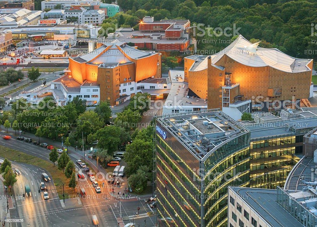 Berlin, Germany, - August 29, 2015: Potsdamer platz from above stock photo