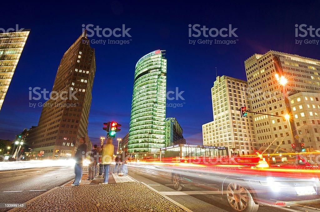 Potsdamer Platz in Berlin at night stock photo