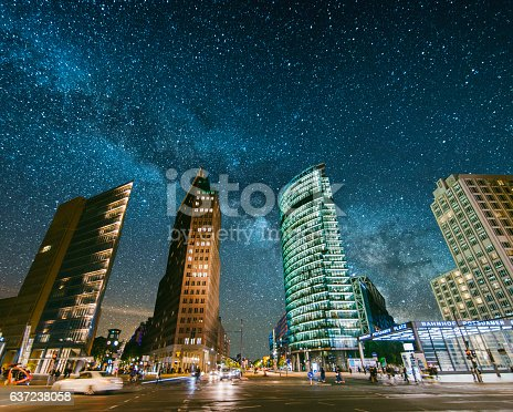 Potsdamer Platz in Berlin, Germany, under the milky way