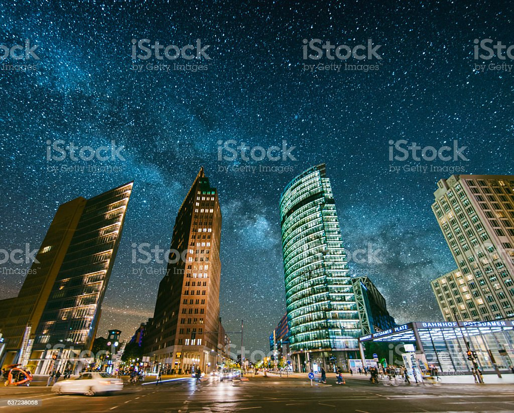 Potsdamer Platz under the stars stock photo