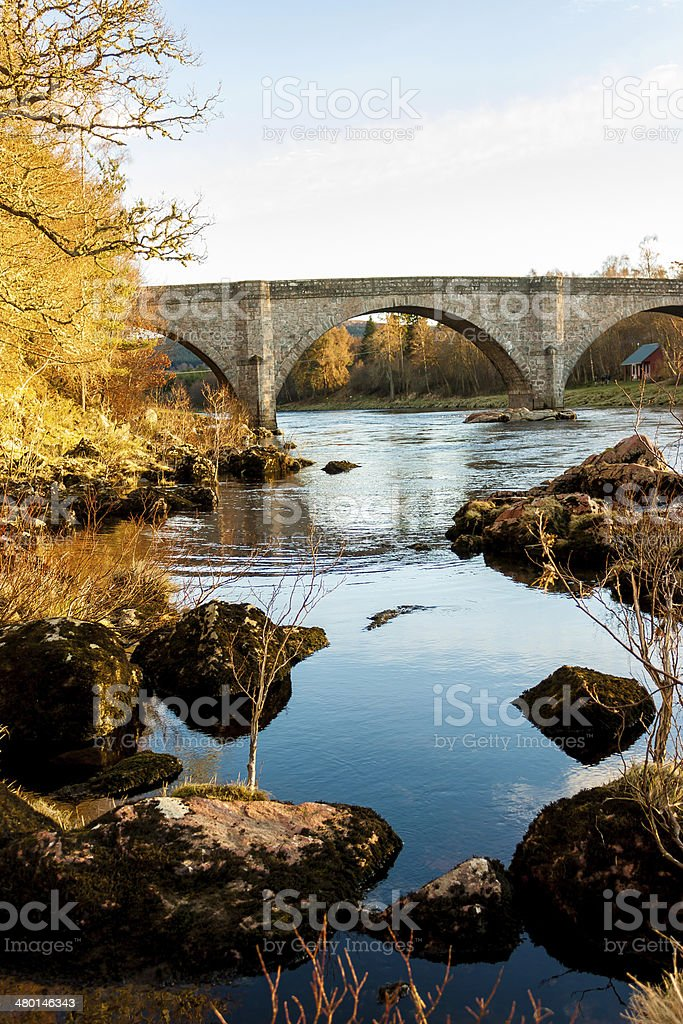 Pottarch Bridge, River Dee, Aberdenshire royalty-free stock photo