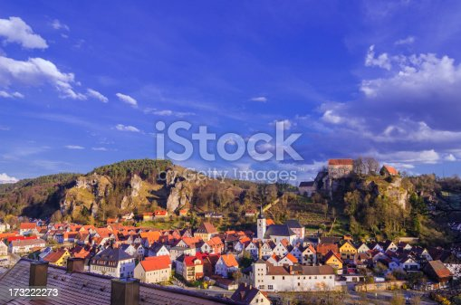 Elevated view on the Franconian town of Pottenstein located in the district Bayreuth, Upper Franconia/Bavaria, Germany on a late spring afternoon.