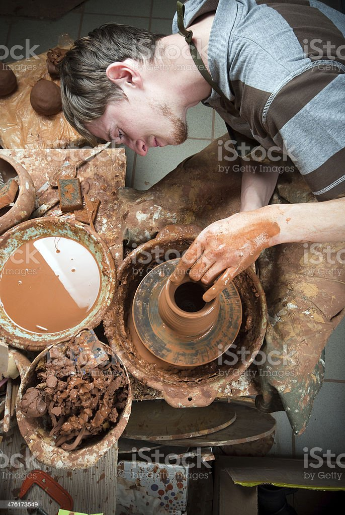 potter at work stock photo