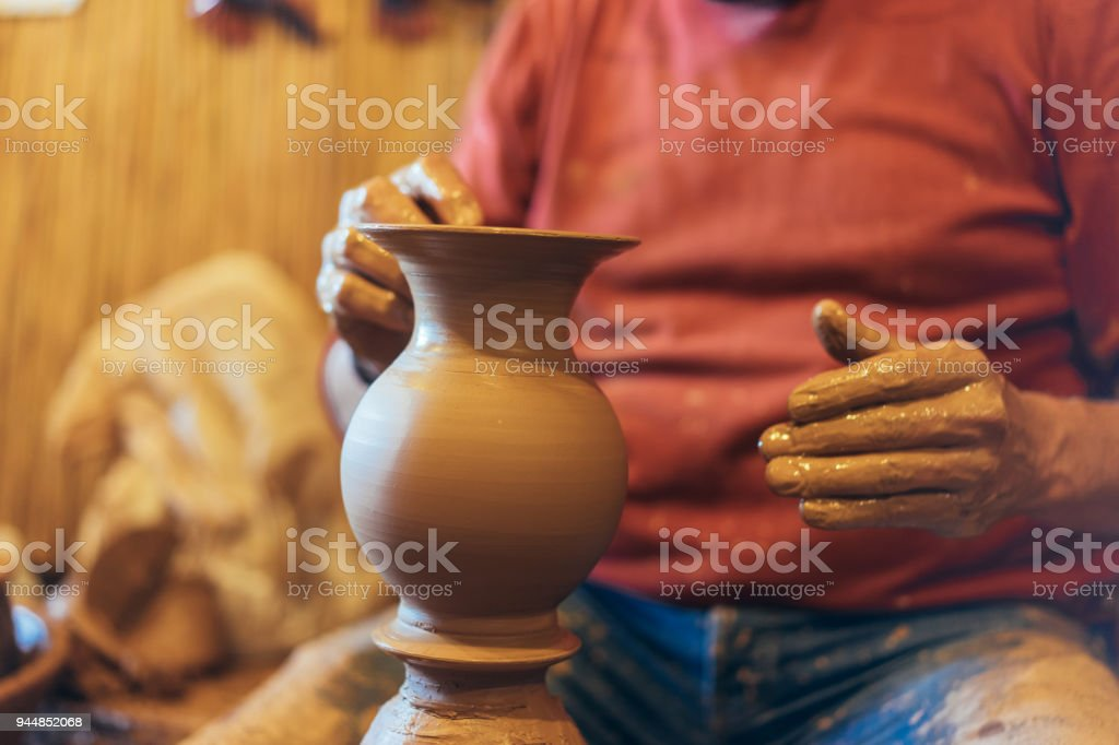 Potter Hands Making Clay Vase Stock Photo More Pictures Of Active