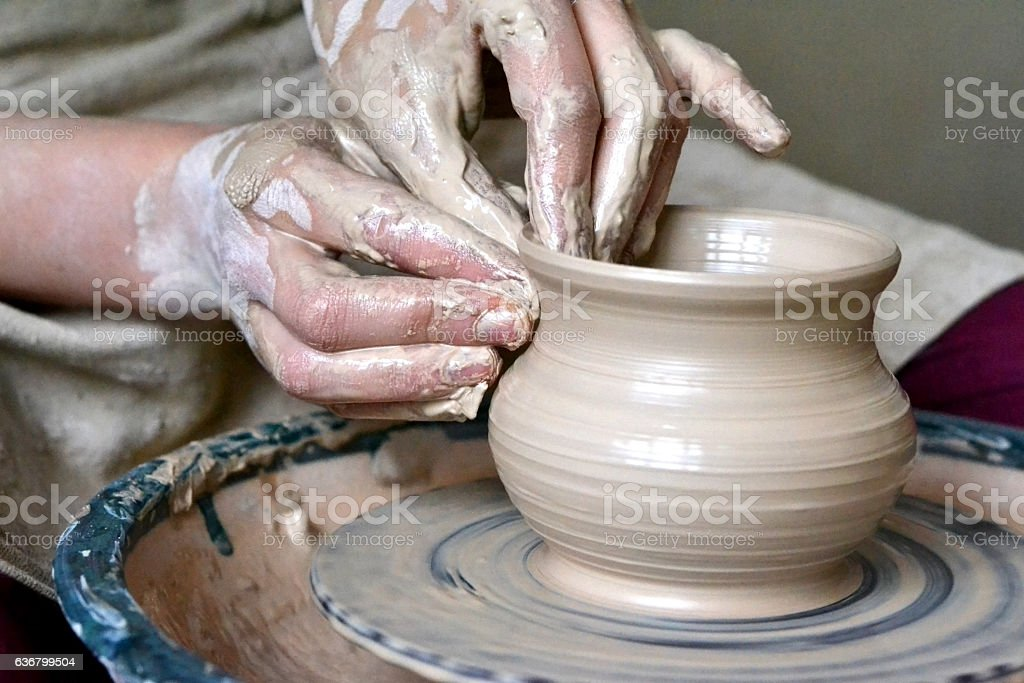 Potter Making Vase From Clay Stock Photo More Pictures Of Adult