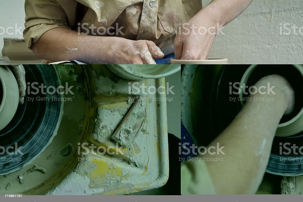 Potter spring a clay bowl behind green equipment royalty-free stock photo