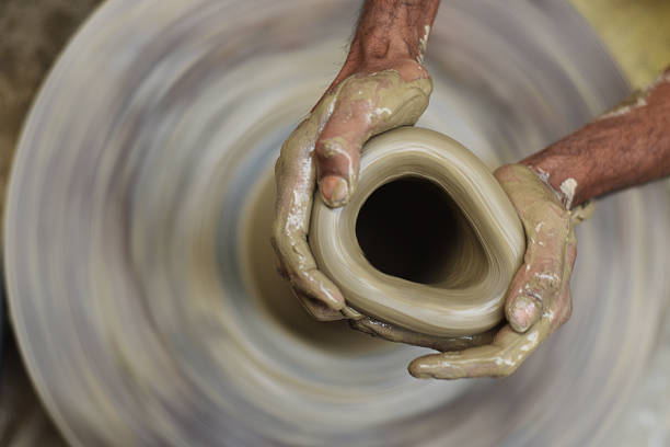 Potters Hands stock photo