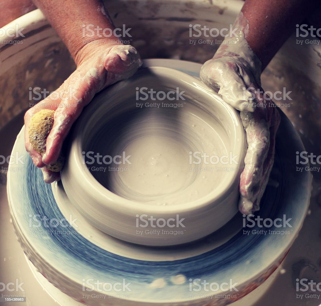 Potter's Wheel - Throwing Pottery royalty-free stock photo